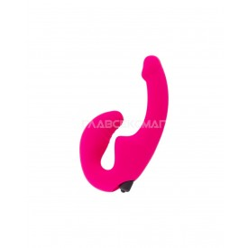 Ярко-розовый анатомический страпон с вибрацией