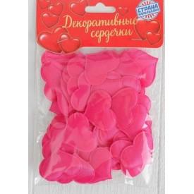 Набор ярко-розовых декоративных сердец - 50 шт.